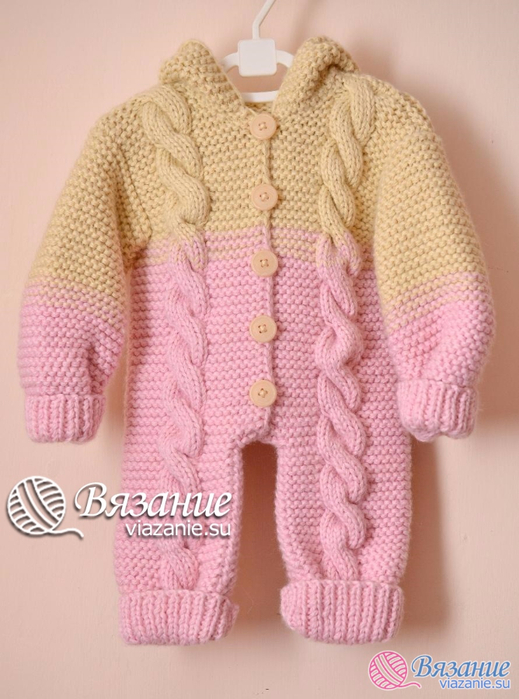 Cabled Baby Jumpsuit knitting pattern