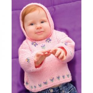 Caron Perfect Posy Hoodie Free Baby Knitting Pattern