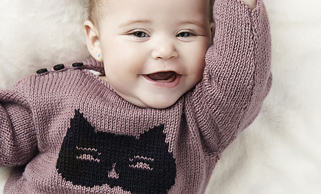 Cat Motif Baby Sweater Knit Pattern Free