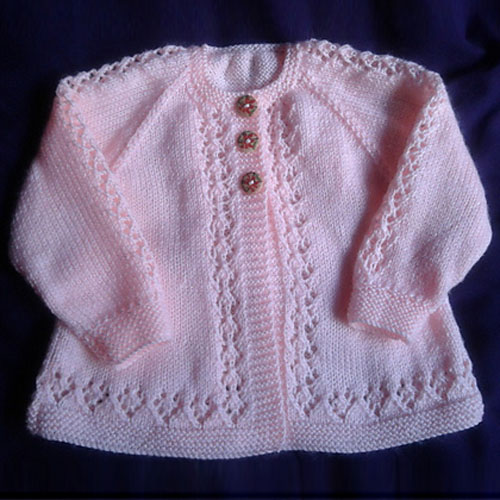 Lace Cardigan Knitting Pattern : Lace Baby Cardigan Free Knit Pattern - Free Baby Knitting