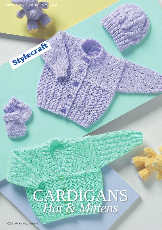 Lace Cardigan, Hat and Mittens Baby Set Knitting Patterns