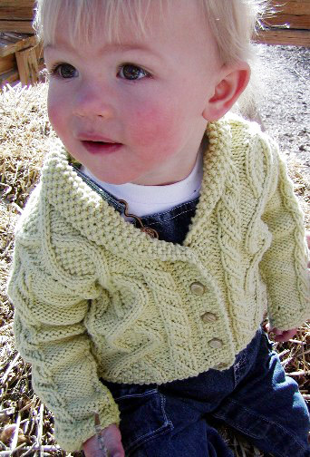Trellis Free Baby Cardigan with Cables Knitting Pattern