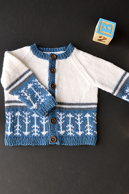 Which Way is Up Free Fair Isle Baby Cardigan Knit Pattern