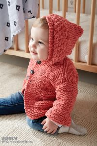 Bernat In The Details Knit Hoodie Free Baby Pattern