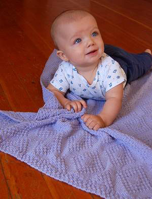 Moss Stitch Diamonds Baby Blanket Knitting Pattern