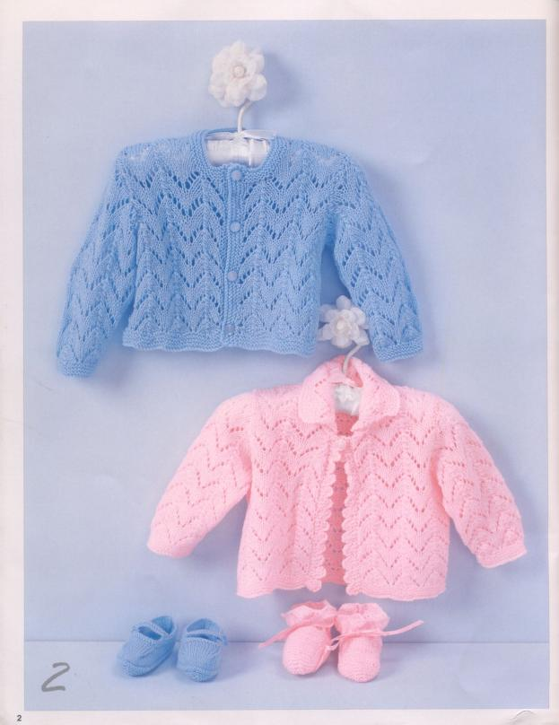 Lace Cardigan Options Free Knitting Patterns for Baby by Patons