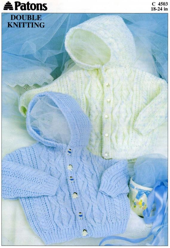 Patons Double Knitting Hooded Cable Baby Jacket