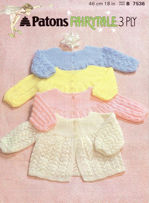 Baby knitting pattern matinee coat in 3 ply