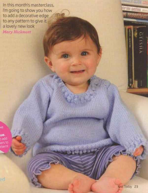 Knitting Pattern for a Baby Sweater with a Decorative Edge