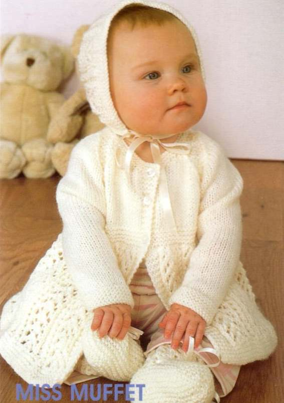 Baby knitting pattern for a lace matinee jacket and bonnet