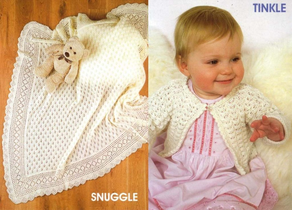 Knitting pattern for a lace baby blanket and cardigan