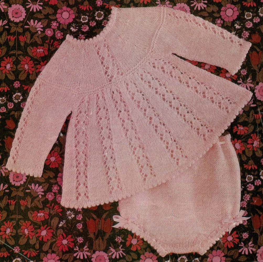 Free Knitting Pattern for Baby Top and Knickers - Vintage