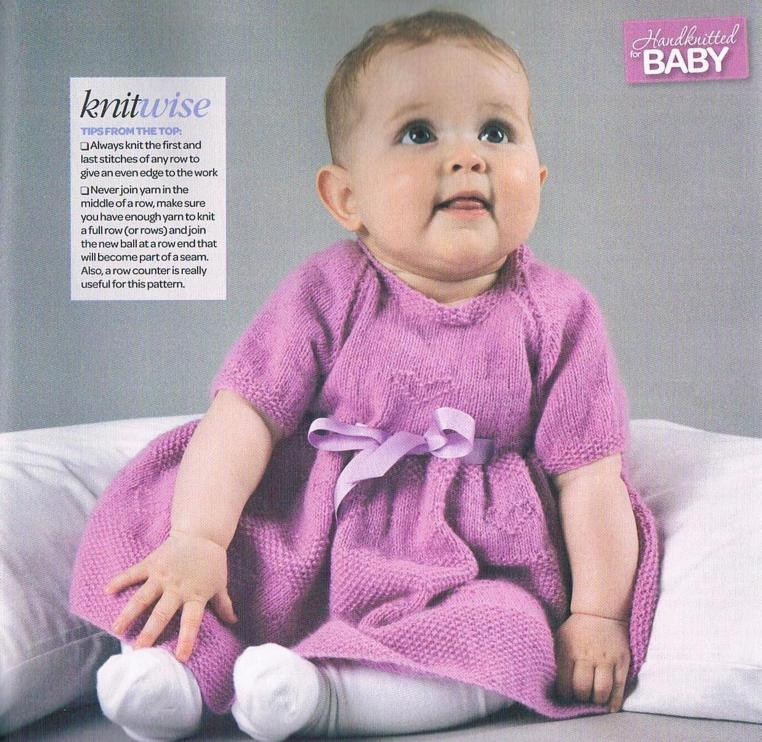 Baby dress knitting pattern with heart and flower motif