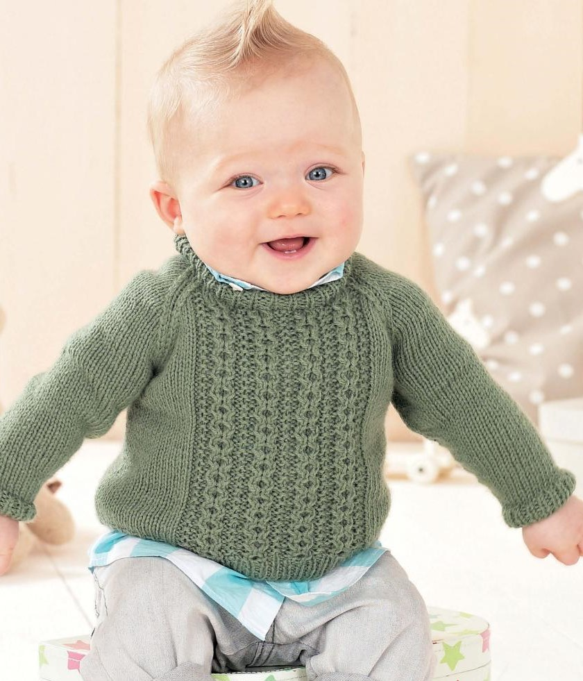 Baby knitting pattern sweater with small cables