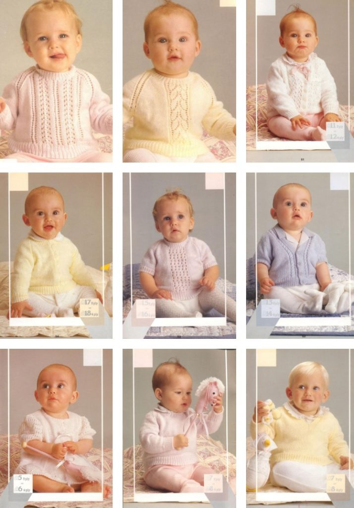 Baby knitting patterns in 3 and 4 ply