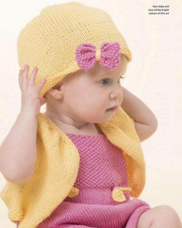 Baby knitting set for a dress, cardi and hat