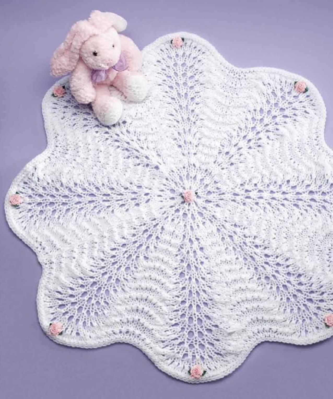 Bed of roses afghan knit pattern for baby