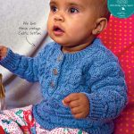 Cabled check baby sweater knitting pattern