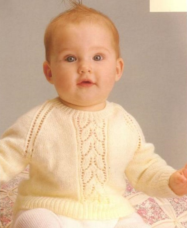 Free baby sweater knit pattern with lace leaf center
