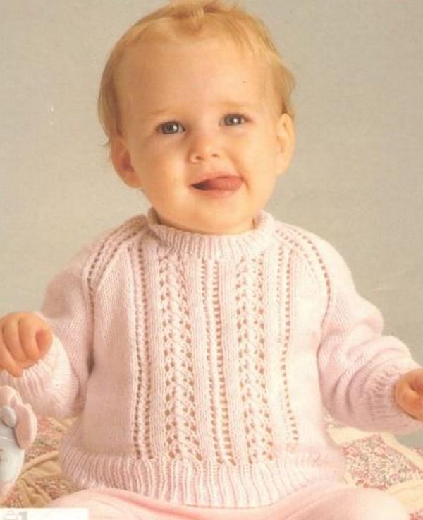 Free baby sweater knitting pattern lace patons