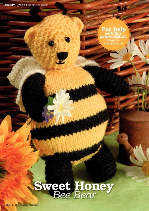 Honey bear baby toy knitting pattern