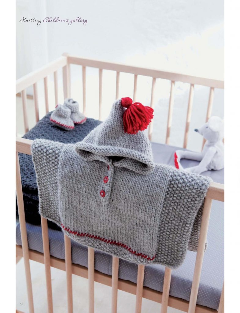 Knitting Pattern for Baby Poncho and Booties Bed