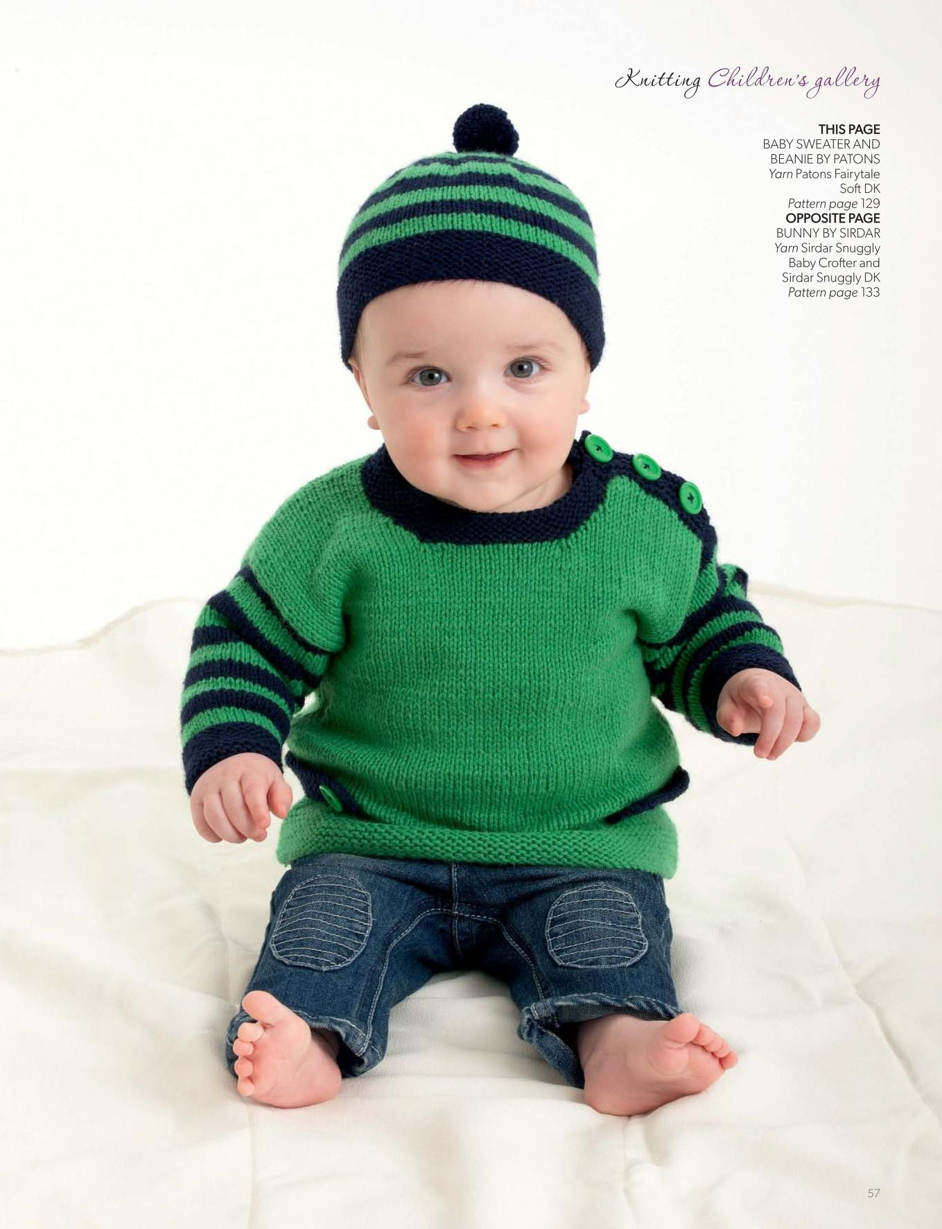Knitting pattern for a baby sweater and beanie set