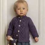Diamond cable baby cardigan free knitting pattern
