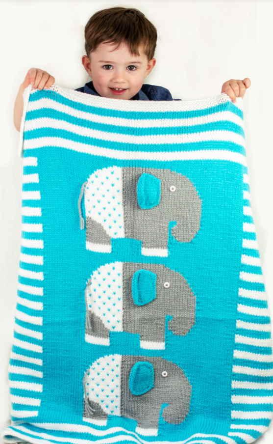 Animal Baby Blanket Knitting Patterns elephant