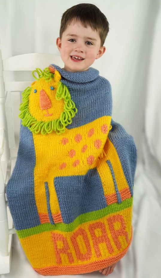 Animal Baby Blanket Knitting Patterns lion