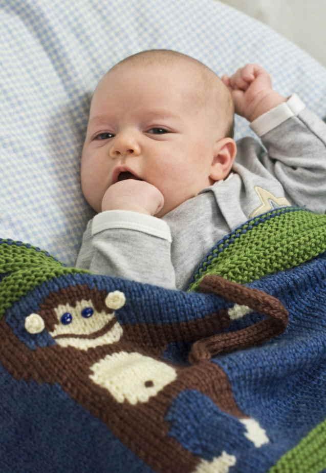 Animal Baby Blanket Knitting Patterns monkey