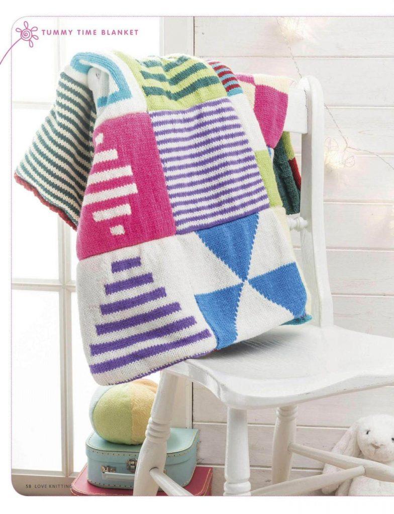 Colorful Block Baby Blanket Knitting Patterns