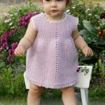 Free Knitting Pattern for a Sideways Garter Stitch Baby Dress