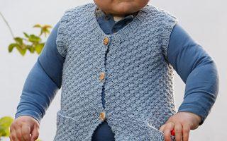 Free V-Neck Vest Knitting Pattern for Babies and Kids