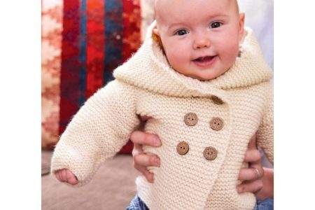 Garter Stitch Baby Jacket Knitting Pattern