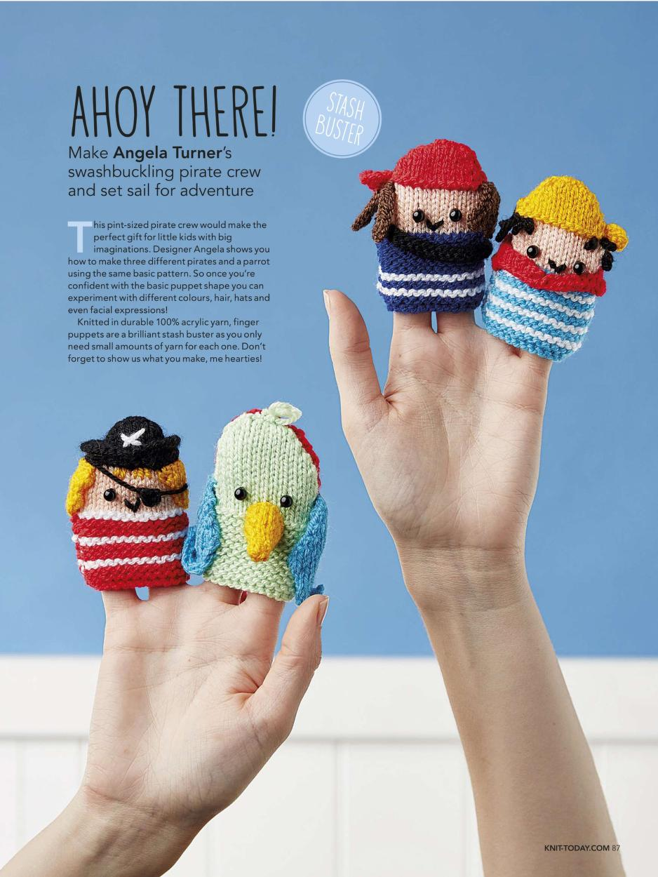 Knitting Pattern for Pirate Finger Puppets